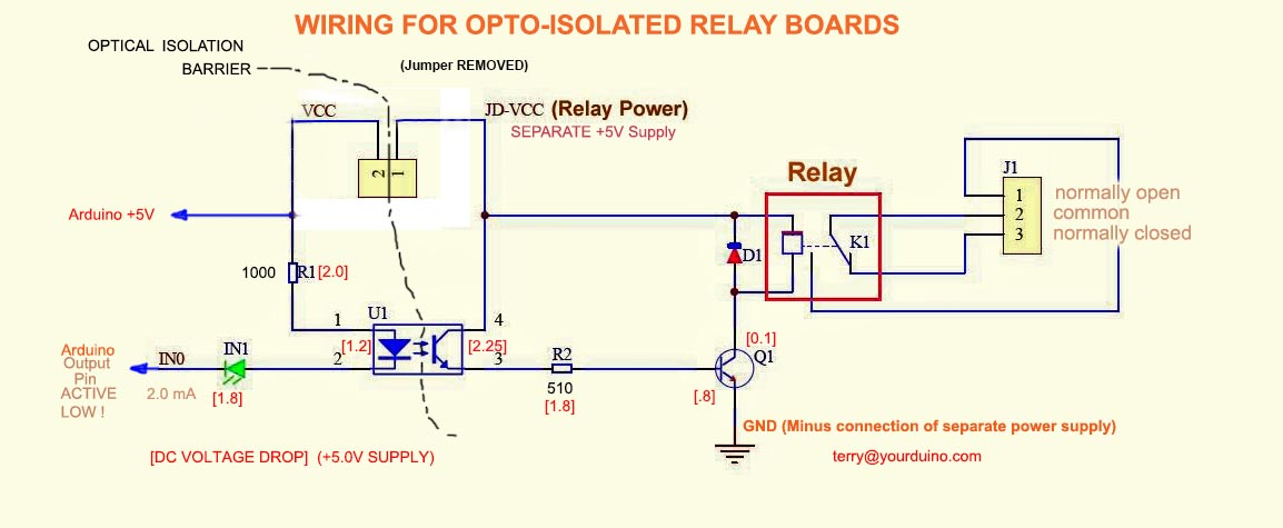 Opto-Isolated 4 Channel Relay Board